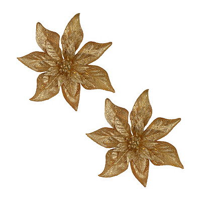 Glittered Gold Poinsettia Clips, Set of 2