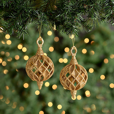 Gold Cutout Finial Ornament, Set of 2