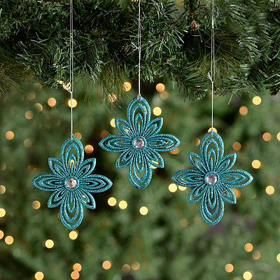 Teal Jeweled Starburst Ornaments, Set of 3
