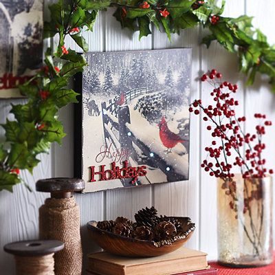 Happy Holidays LED Wooden Plaque