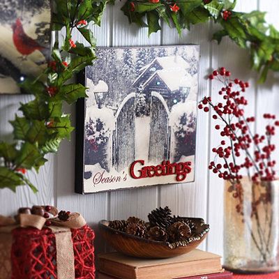 Season's Greetings LED Wooden Plaque