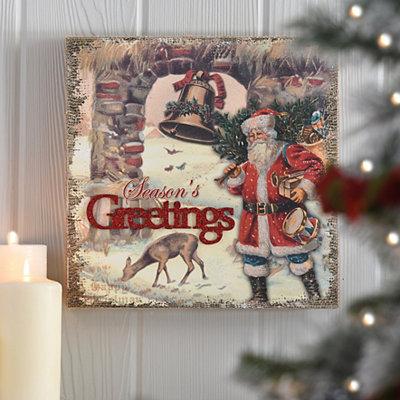 Season's Greetings Vintage Santa Wooden Plaque