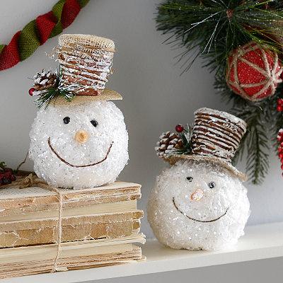 Icy Twigs Snowman Head Ornaments, Set of 2