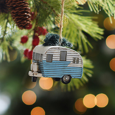 Vintage Camper with Tree Ornament