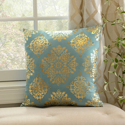 Aqua Metallic Medallion Velvet Pillow