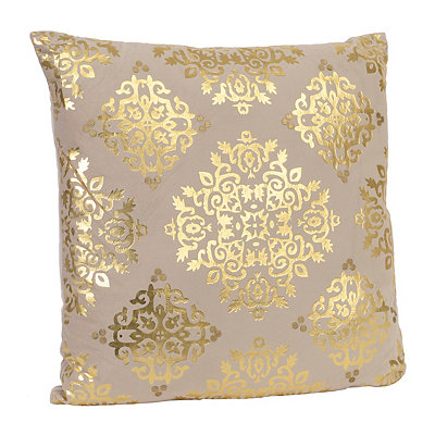 Tan Metallic Medallion Velvet Pillow