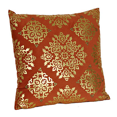 Spice Metallic Medallion Velvet Pillow