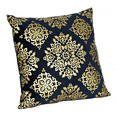 Navy Metallic Medallion Velvet Pillow