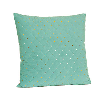 Aqua Quilted Velvet Sequin Pillow