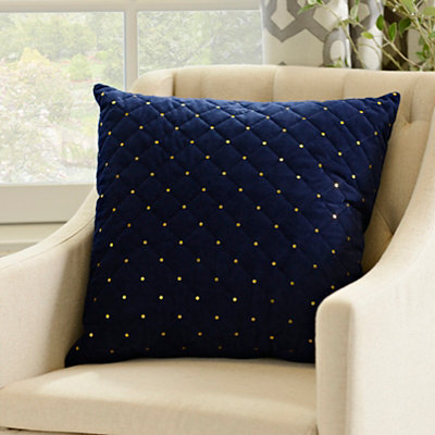 Navy Quilted Velvet Sequin Pillow
