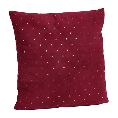 Red Quilted Velvet Sequin Pillow