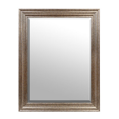 Beveled Antique Silver Framed Mirror, 37.5 x 47.5