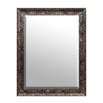 Black Mosaic Framed Mirror, 37.5 x 47.5