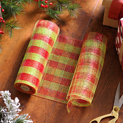 Red and Green Striped Mesh Ribbon, 10 in.