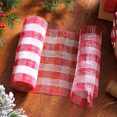 Red and White Striped Mesh Ribbon, 10 in.