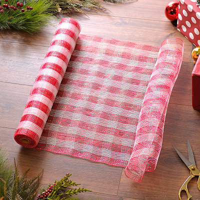 Red and White Striped Mesh Ribbon, 21 in.