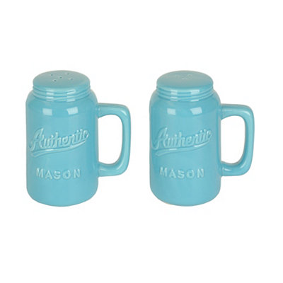 Turquoise Mason Jar Salt and Pepper Shakers