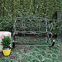 Black Butterfly Outdoor Metal Bench Rocker