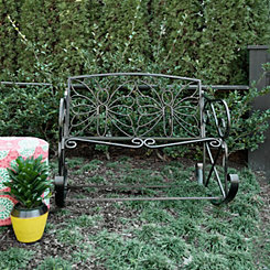 Black Butterfly Outdoor Metal Bench Rocker