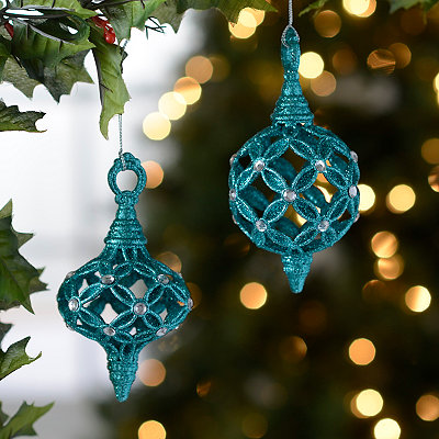 Turquoise Open Work Finial Ornaments, Set of 2