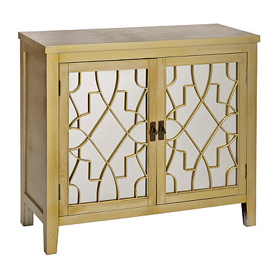 Gold Geometric Mirrored Cabinet
