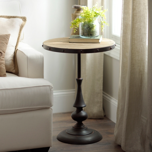 Industrial Wood Plank Side Table
