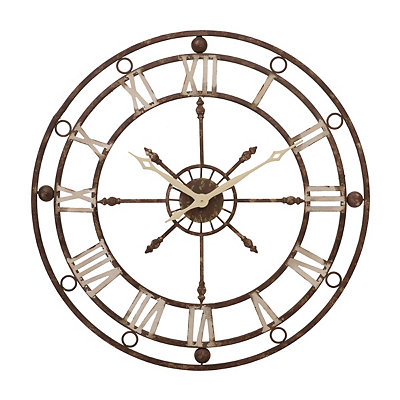 Distressed Vintage Metal Clock, 36 in.