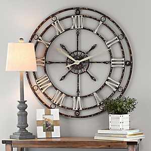 Distressed Vintage Metal Clock, 36 in.