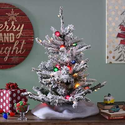 Pre-Lit Flocked Mini Christmas Tree, 30 in.