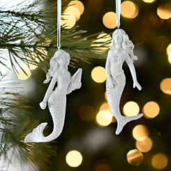 White Mermaid Ornaments, Set of 2