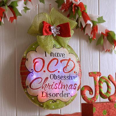 Pre-Lit Ornament Burlap Wall Hanger