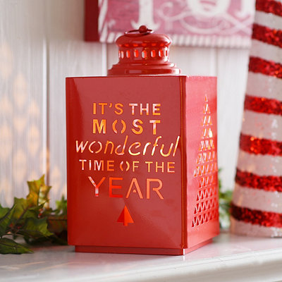 Red Cut-Out Christmas Tree Metal Lantern