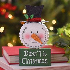 Glittered Christmas Countdown Snowman Statue