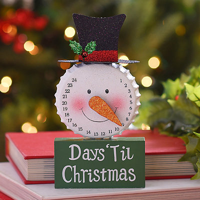Glittered Christmas Countdown Snowman Statue