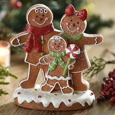 Glittered Gingerbread Family Statue