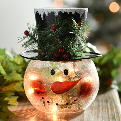 Clear Crackle Glass LED Snowman