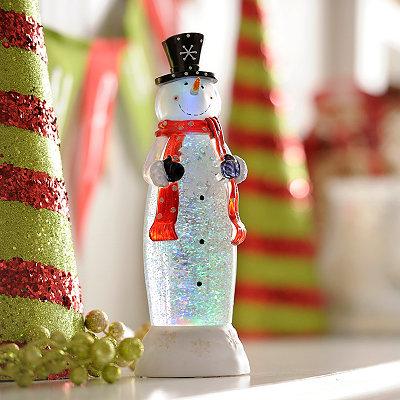 Glittered Snowman LED Globe