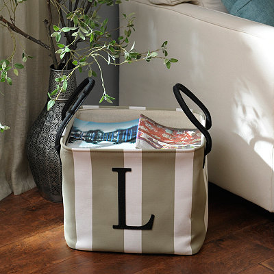Striped Monogram Storage Bin