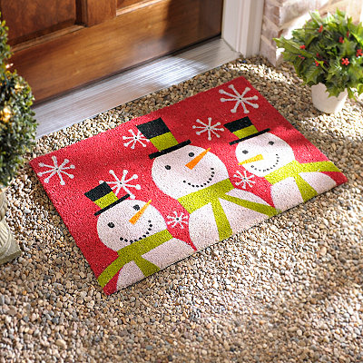Red Snowmen Doormat