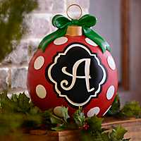 Red Polka Dot Monogram Ornament Statues