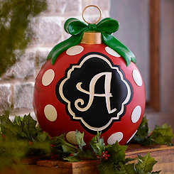 Red Polka Dot Monogram A Ornament Statue