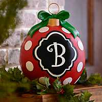 Red Polka Dot Monogram B Ornament Statue