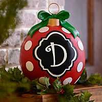 Red Polka Dot Monogram D Ornament Statue