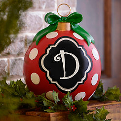 Red Polka Dot Monogram D Ornament Statue