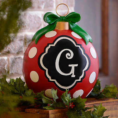 Red Polka Dot Monogram G Ornament Statue