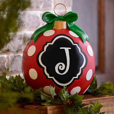 Red Polka Dot Monogram J Ornament Statue