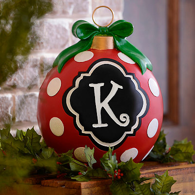 Red Polka Dot Monogram K Ornament Statue