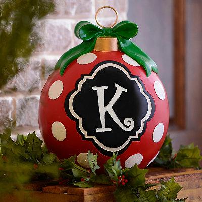 Red Polka Dot Monogram K Ornament Statue