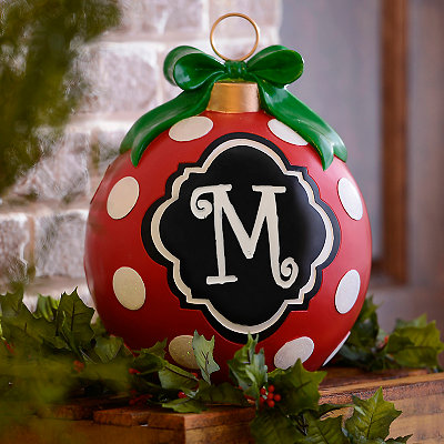 Red Polka Dot Monogram M Ornament Statue
