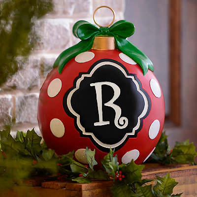 Red Polka Dot Monogram R Ornament Statue